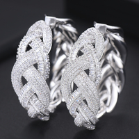 Handmade Full with Stones Cubic Zirconia brincos Hoop Earrings for Women Bridal Wedding Important occasion Jewelry