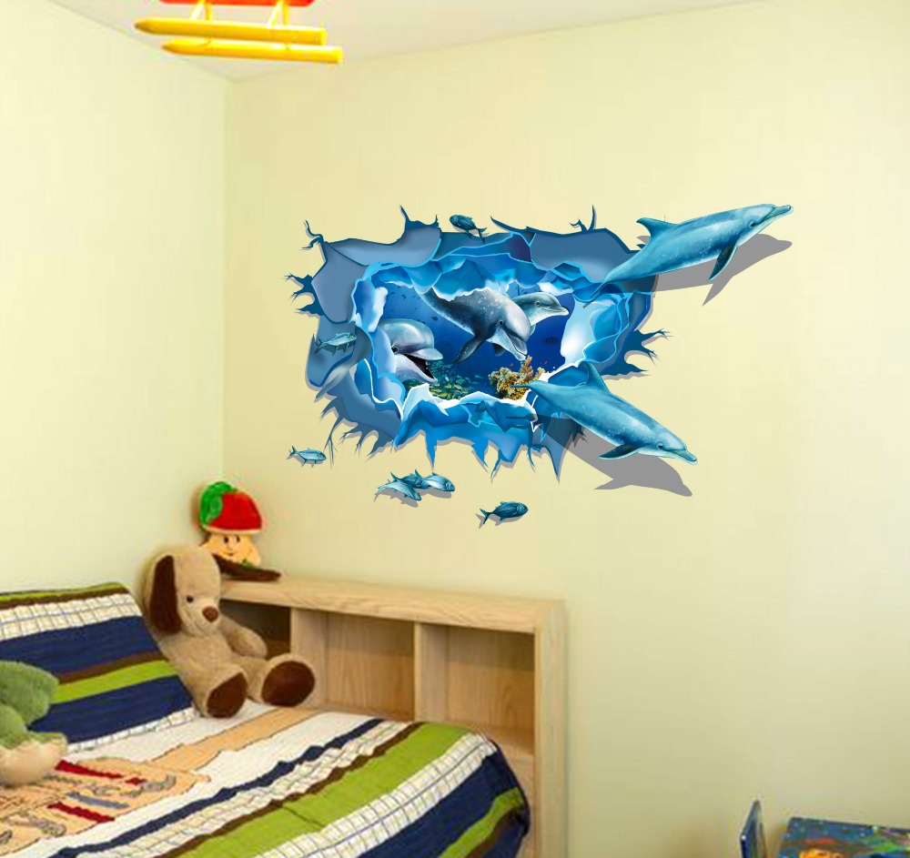 3D plane dolphins wall stickers sofa background pictures Marine ...
