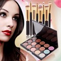 Free Shipping 1 Set 15 Color Concealer Facial Face Cream Care Camouflage Makeup Base Palettes + 8 pcs Makeup Brushes Set  #BSEL