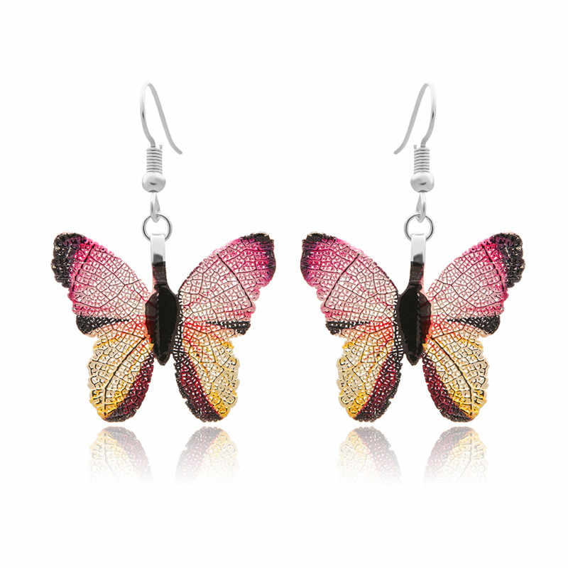 Fashion Natural Real Leaf Drop Earrings For Women Colorful Butterfly Long Earrings Female Brincos Statement Jewelry Gift Party