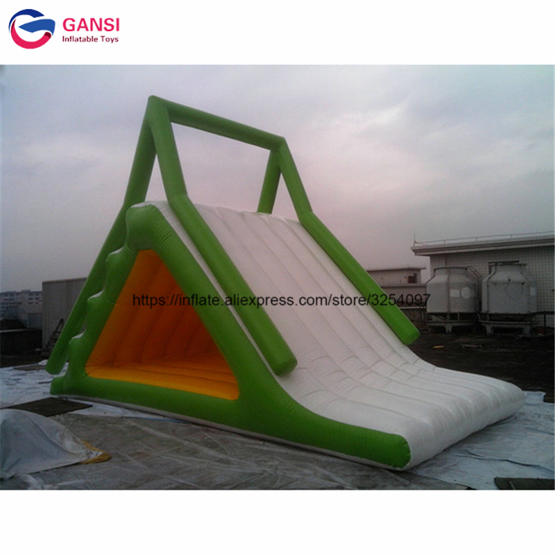 Inflatable floating water park water slide clearance,6*3*3.5m giant inflatable water slide for adult ocean pvc material inflatable floating water slide for sales lake inflatable water slides yacht slide water slide boat
