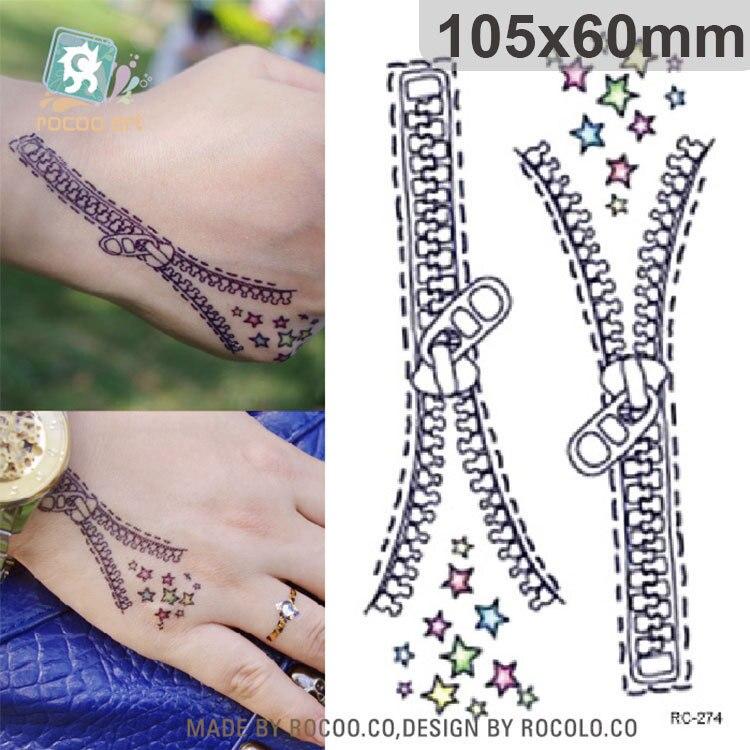 Waterproof Temporary Tattoo Sticker On Hand Zipper Tatto