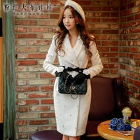 original 2017 autumn winter warm new long slim fashion elegant diamond white solid wool coat women