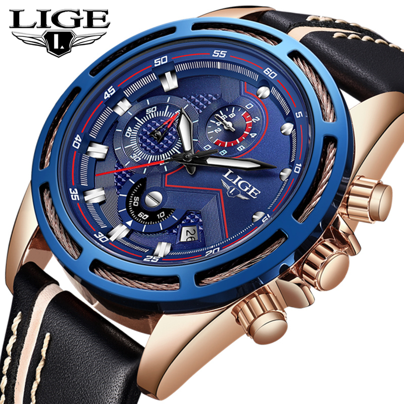 LIGE Watch Men Fashion Quartz Sport Watch Mens Watches Top Brand Luxury Waterproof Leather Chronograph Clock Relogio Masculino