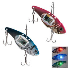 LED Light Fishing Lure Treble Hook Fishing Elektronik Lampu Umpan Memancing Ikan Memikat Cahaya Berkedip Lampu(China)