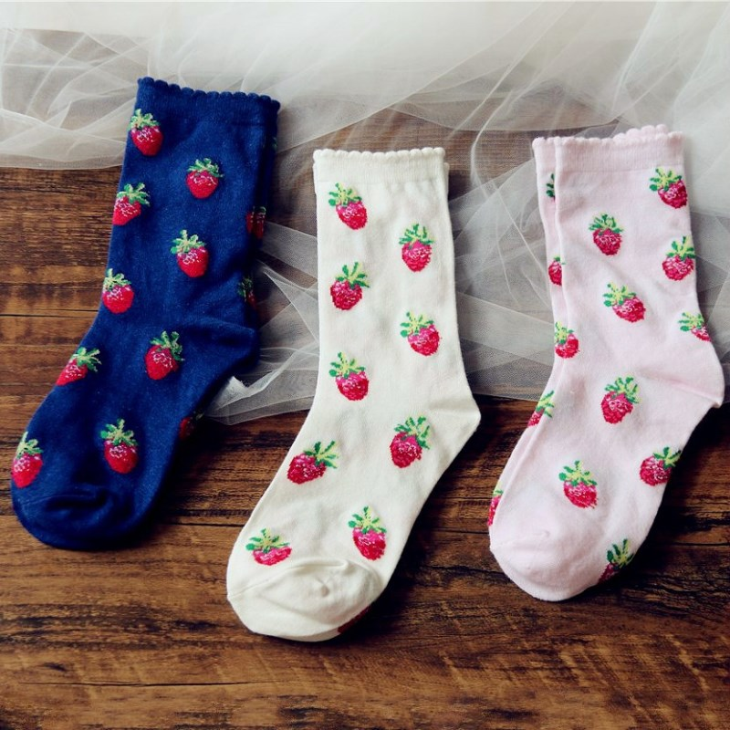 Jeseca Cute Strawberry Pattern Women Socks Cotton Soft Kawaii Breathable Sock Girls Japanese Harajuku Anti-friction Sox Lovely