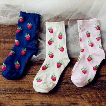 Jeseca Клубничная печать японские Kawaii милые носки для девочек хлопковые мягкие дышащие Harajuku винтажные уличные женские носки подарки