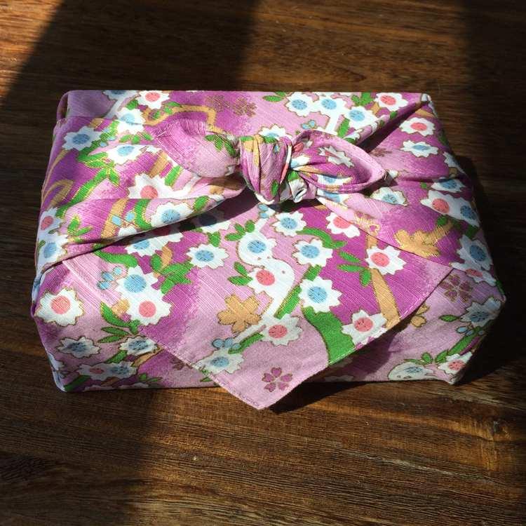 Japanese Style Big Handkerchief Furoshiki / Bronzing Flower Printed 52cm / Headkerchief Scarf Many Uses