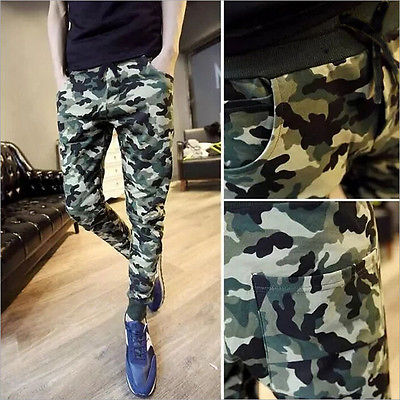 GLANE camouflage Trousers Casual Slim Long Pants Men Camo