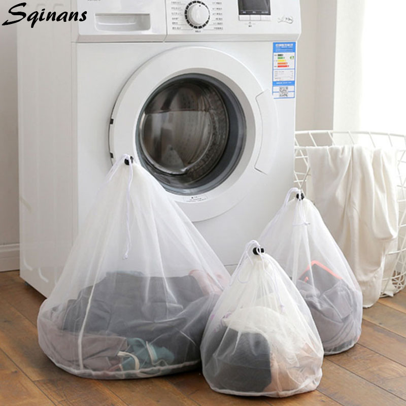 Drawstring Mesh Laundry Bags For Washing Machines Bra Underwear Products Net Wash Bag Travel Laundry Bags For Dirty Clothes