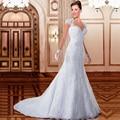 Elegant Brilliant Fashion V-Neck Cap Sleeve Lace Appliques Sequined Button Long Mermaid vestido de noiva Wedding Dresses 2016