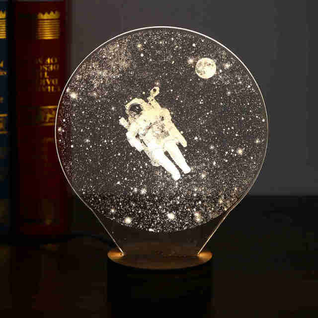 3D LED Night Lights USB Atmosphere Desk Lamps Earth Astronaut Moonlight Home Decor