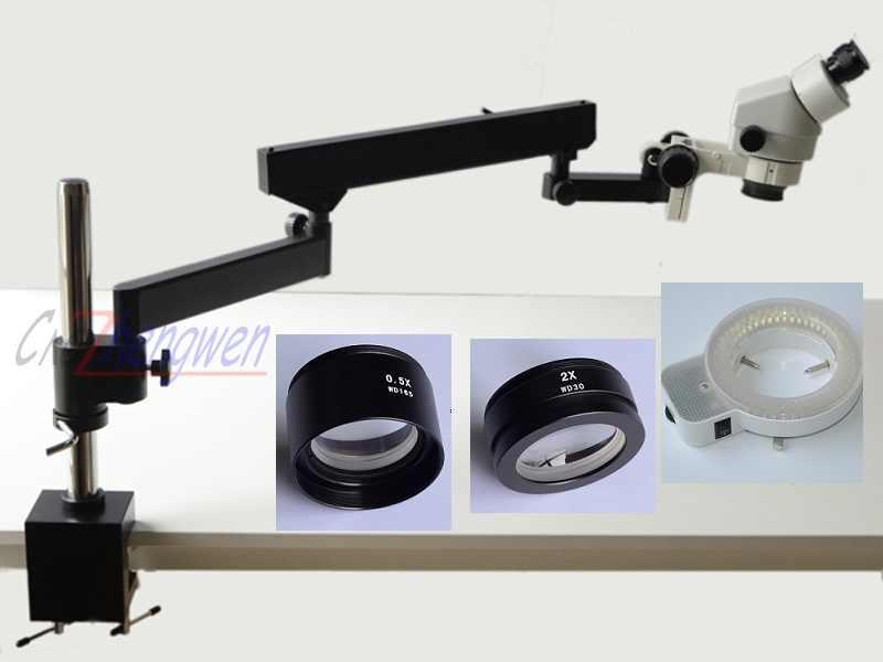 FYSCOPE 3.5X-90X bras articulé binoculaire pince Zoom Microscope + 144LED Microscope