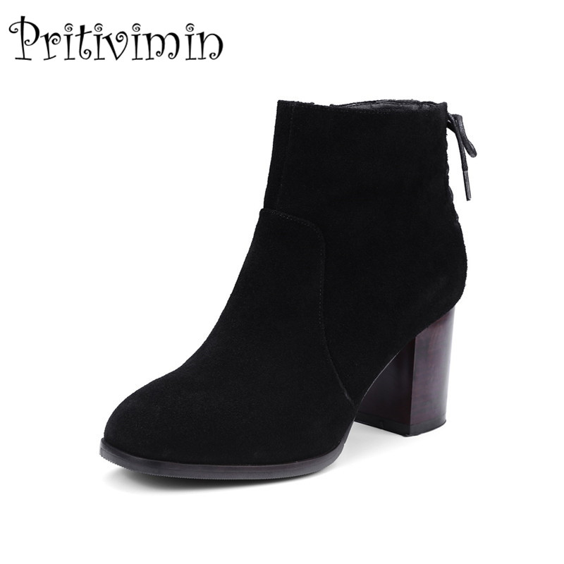 2018 New autumn winter  ladies cross-tied shoes woman cow suede thick high heel 2 color anti-skid ankle boots Pritivimin FN114 autumn and winter new ladies genuine