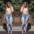 Light Blue Color Sexy Women Ripped Slim Destroyed Distressed Skinny Pants Trousers Ladies Denim Jeans Sizes S-XL L450-1