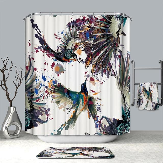 3D Colorful Bird Printed Watercolor Shower Curtain Mildewproof Bathroom Polyester Thickened Products