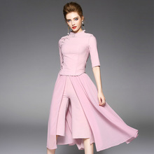 2017 Runway Fashion Office Two Piece Set Women's Cheongsam Blouses Top Flare Wide Leg Pants Crop Top and Skirt Pants Set Outfits