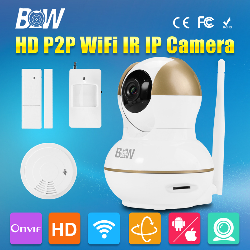BW Wireless Wifi Door & Motion Sensor + Smoke Detector Surveillance Security CCTV Rfid HD 720P P2P Baby Monitor Mini IP Camera 720p hd ip camera security door sensor infrared motion sensor smoke gas detector wifi camera monitor equipment alarm bw13b
