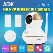 Bw de vigilancia inalámbrica wifi puerta & motion sensor + detector de humo Rfid de seguridad CCTV HD 720 P Monitor de Bebé P2P Mini Cámara IP