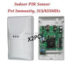 2 шт./лот беспроводной крытый животными пир датчик движения, 433 мГц / 2262 код, Для системы сигнализации дома G90B и g19, 8218 г, G15, G18