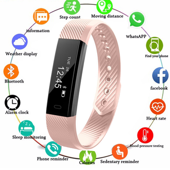 ID115 Smart Bracelet Fitness Tracker Step Counter Activity Monitor Band Vibration Wristband pk FitBits Mi Band 2 Smart Watch