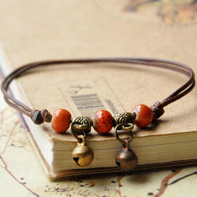 Керамические браслеты из бисера ряд переплетенных веревок Серебряный Бронзовый колокольчик Шарм манжеты Браслеты регулируемые браслеты женские этнические ювелирные изделия ножной браслет