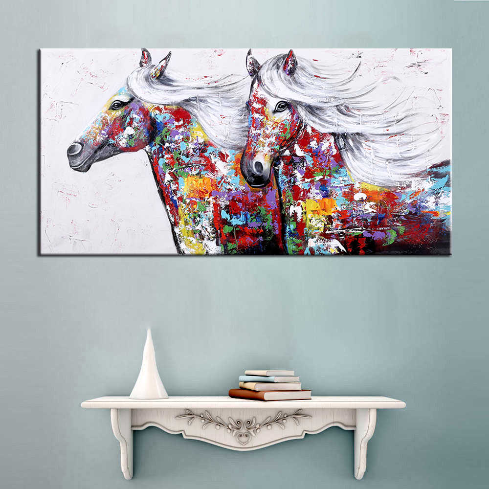 Oil Painting Wall Art Hand Painted Two Running Horse Modern Animal Wall Decorative Canvas Art Picture for living room Home Decor