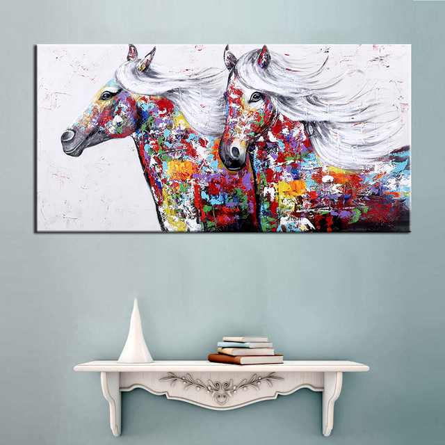 Oil Painting Wall Art Hand Painted Two Running Horse Modern Animal ...