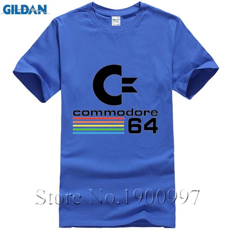 Лето 2017 г. 100% хлопок Commodore 64-темно-футболка с принтом Для мужчин; короткий рукав o-образным Вырезом Стильная дешевые классический Для мужчин п...
