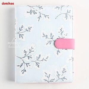 Image 1 - Domikee милый цветок многофункциональный кожаный переплет персональный дневник еженедельник планировщик повестки дня Органайзер блокнот канцелярские принадлежности подарок А5 А6