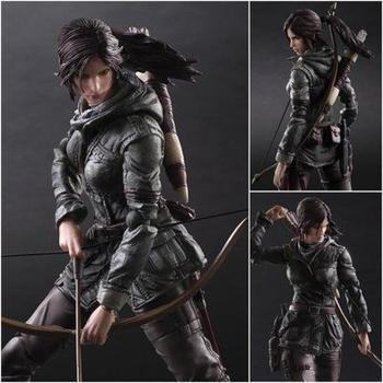 New Play Arts Tomb Raider Action Figure Toys 25cm Lara Croft Anime Movie Toys Rise of The Tomb Raider Doll For Children Gifts
