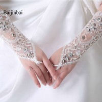 Hot Sale Steering-Wheel Lace Up Bridal Gloves Fashion Crystals Beaded Flower Glove Rhinestone Cheap Long Gloves Wedding Gloves