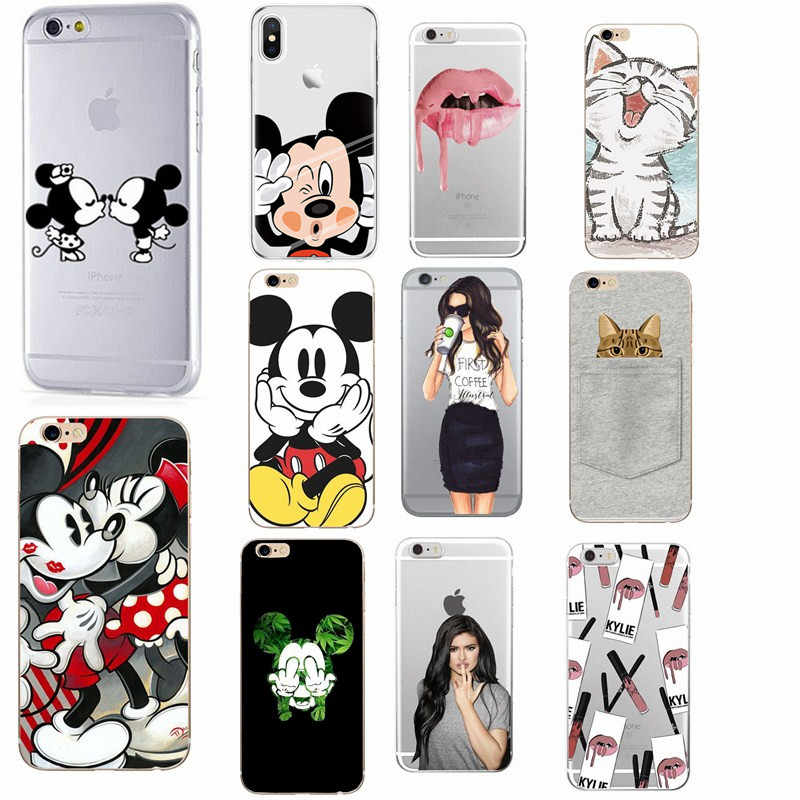 For Fundas iPhone XS Case Cover Apple iPhone 5 5S SE 6 6S 7 8 Plus X 10 Minnie Silicone Phone Back Case For capa iphone 7