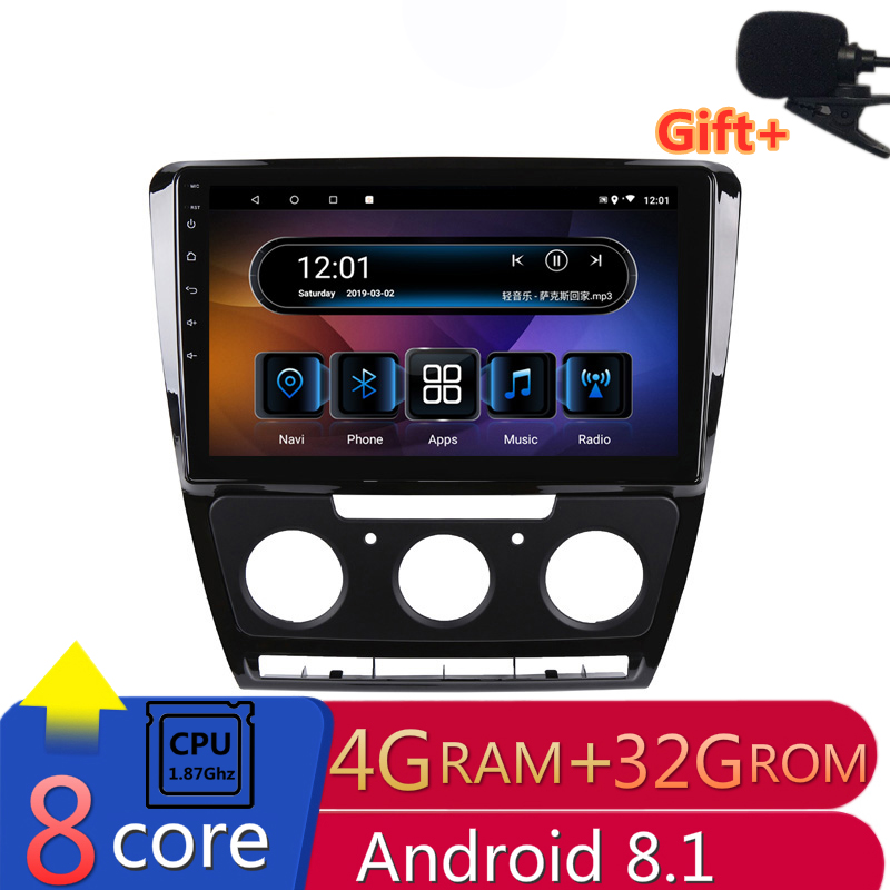 "10"" 4G RAM 2.5D IPS 8 core Android 8.1 Car DVD Multimedia Player GPS For Skoda Octavia 2 2010-2013 A5 audio car radio navigation"