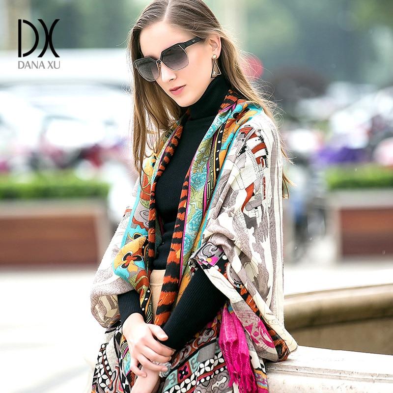 Marque de luxe Plaid cachemire hiver femme Poncho écharpe femme surdimensionné couverture d'emballement laine Cape femmes Pashmina châles et écharpes - 3