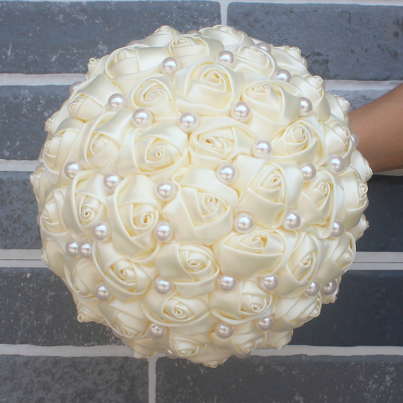 Image 4 - WifeLai A Pure Color Ivory Bridal Wedding Bouquet Cream Satin Rose Artificial Flowers Wedding Bouquet de novia On Sale W322 2bouquet de noviabridal wedding bouquetwedding bouquet -