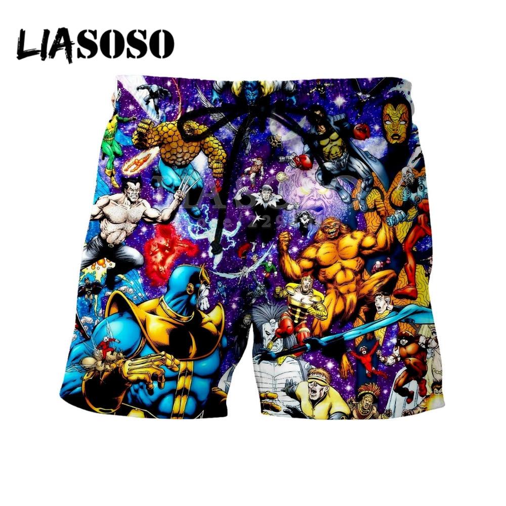 LIASOSO Newest Summer 3D Print Avengers 3 Infinite War Thanos Short Pants Mens & Womens Print Pant Harajuku Lace Hot Pants Y060