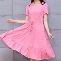 Korean Style Leisure Big yards Dress Summer Pure color Round collar Short sleeve Dress Elegant Slim Women Fashion Dress G2449