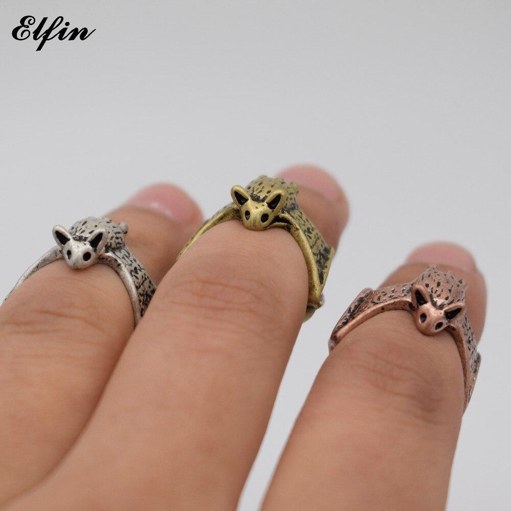 Elfin Wholesale 2017 Vintage Adjustable Bat Ring Mes