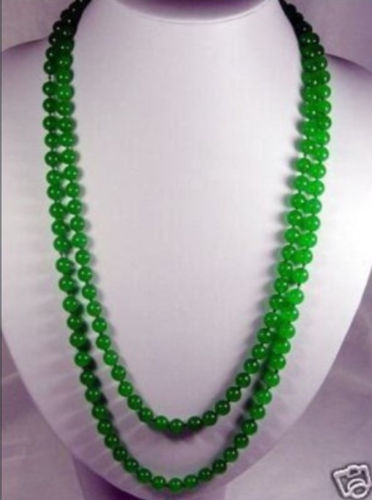 8mm natural green stone beads Necklace 50 long Noble style Natural Fine jewe silver-jewelry