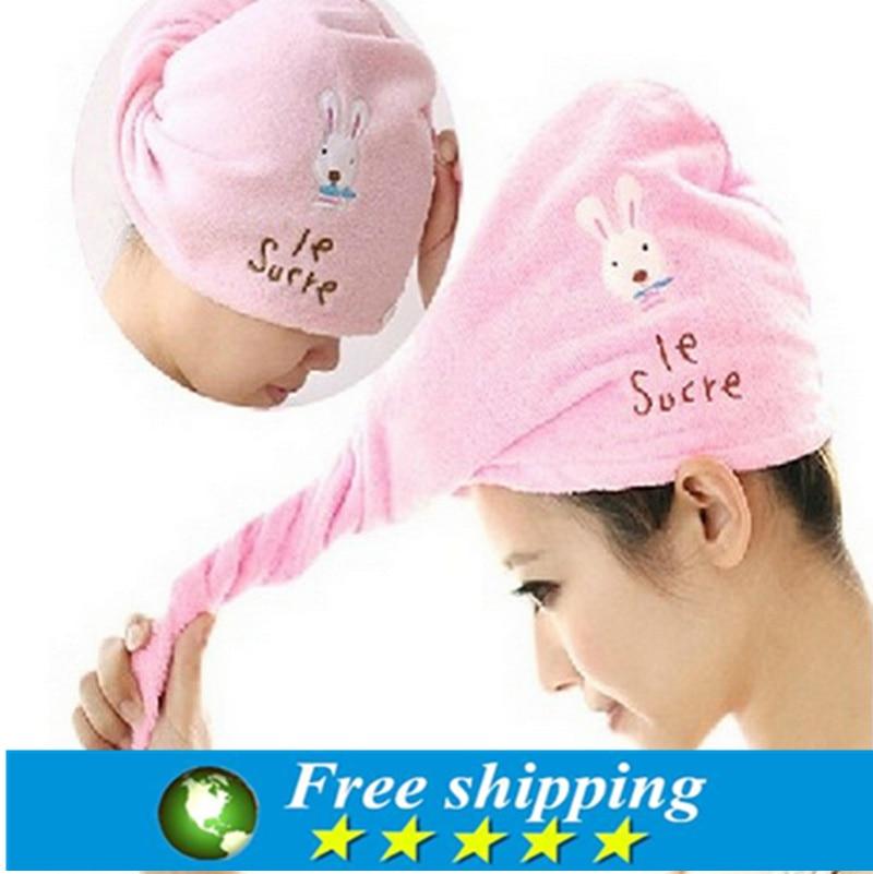 Hot sale 3 pcs!Creative Cute Rabbit Super Absorbent Towel Dry Hair Cap Shower Bath Caps,bathroom accessories,Free shipping.