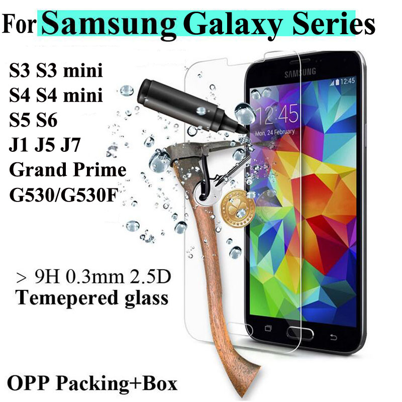 Tempered Kaca Screen Protector untuk Samsung Galaxy S6 S5 S4 S3 mini A3 A5 A7 A8 J1 J3 J5 J7 2016 Grand Prime Film pelindung