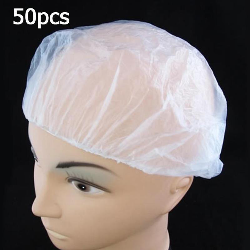 50pcs Disposable Elastic Shower Hat One-Off Hotel Bathing Cap Hair Salon Waterproof Clear Hat Bathroom Supplies Convenient Soft