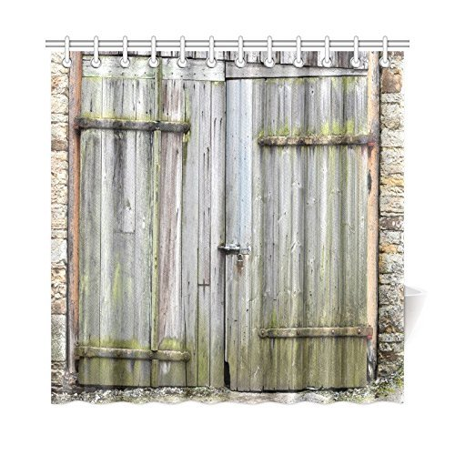 Vintage Rustic Wooden Door of Old Barn in Stone Wall Farmhouse Countryside Village Aged Rural Life Fabric Shower Curtain