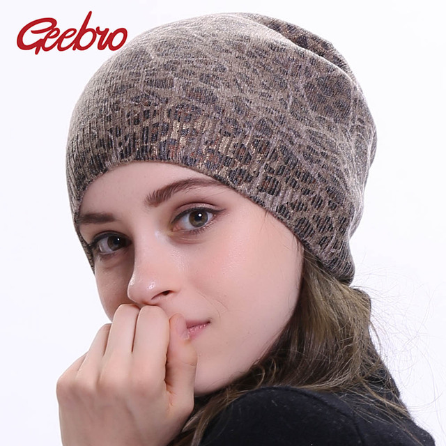 2a3359fabb593 Geebro Women s Leopard Knit Cashmere Beanie Hat Winter Single Layer Casual Slouchy  Beanies for Women Single