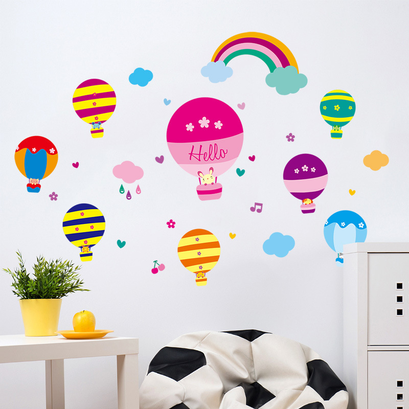 Colorful Hot Air Balloon Wall Stickers Home Decor Kids