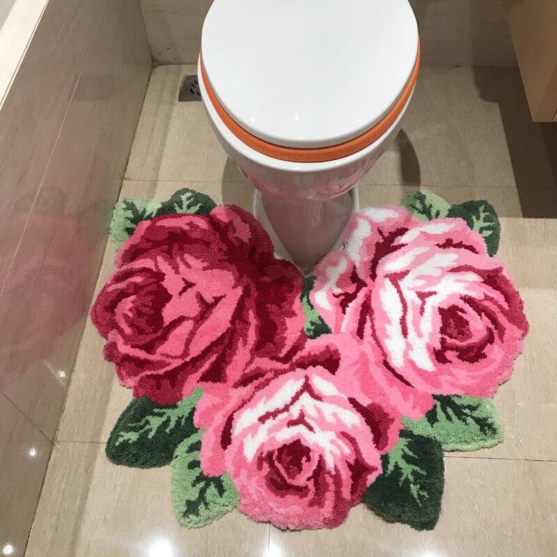 Rose Rose décor à la maison tapis pour salon chambre tapis salle de bain toilette antidérapant tapis de haute qualité 3D fait main tapis personnalisé