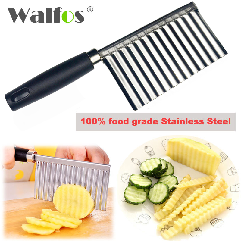 WALFOS stainless steel Potato Wavy Edged Knife Kitchen Gadget Vegetable Fruit Cutter Cooking Tools kitchen knives Accessories