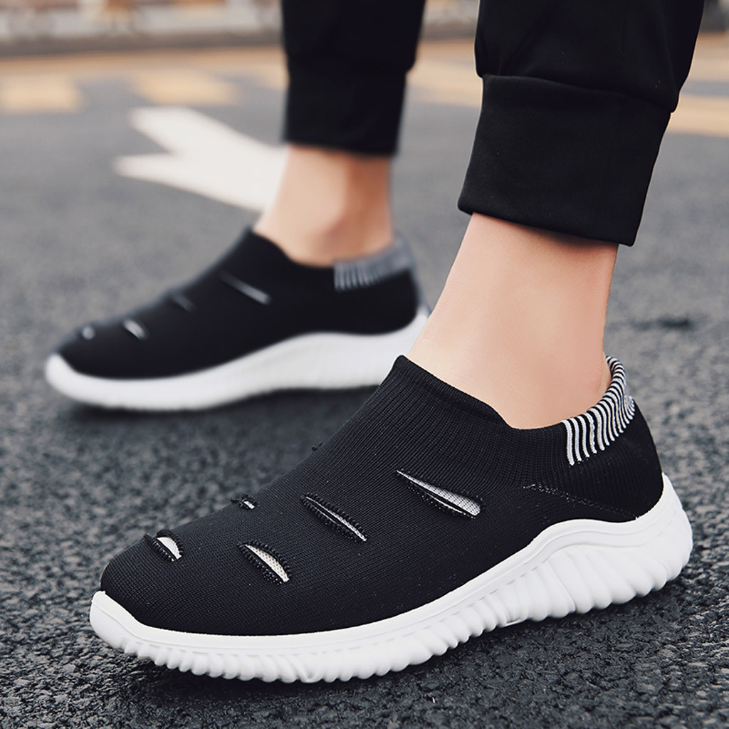 Muqgew Hollow Out Solid Big Size Flats Sneakers Shoes New Arrival Casual Sets Of Feet Lightweight Outdoor Non-slip Sneaker Shoes Men's Shoes