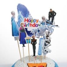 Дисней Замороженные вечерние Эльза принцесса тематическая вечеринка на день рождения украшения Дети Кекс Торт Топпер Для детей день рождения торт поставки
